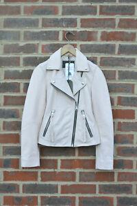 *STUNNING AllSaints Spitalfields Ladies DALBY Leather Biker Jacket UK2 US00 Pink