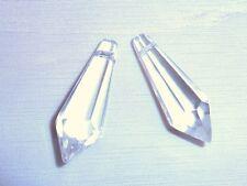 Paquete de 2 Facetado Cristal Colgantes -35mm-TRANSPARENTE p613