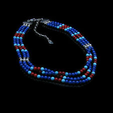 3 Strand .925 Sterling Silver Natural Turquoise Lapis Red Coral Beaded Necklace