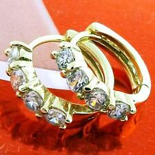 FS968 GENUINE 18K YELLOW G/F GOLD SOLID DIAMOND SIMULATED HUGGIE HOOP EARRINGS