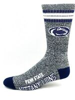 Penn State Nittany Lions NCAA Four Stripe Heather Gray Navy Crew Socks