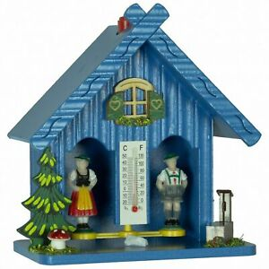 Weather House Barometer Blue 13cm by Trenkle Uhren Hygrometer Made in Germany