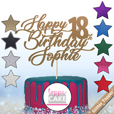 Happy Birthday Cake Toppers Glitter Any Name Age Personalised UK