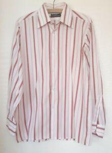 Mens Peter England shirt  white striped pink retro