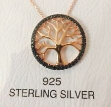 SALE !! Tree Of Life Necklace with CZ stone on Rose Gold plated Sterling Silver