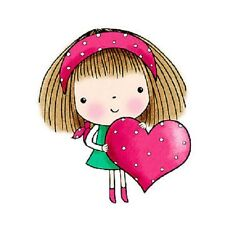PENNY BLACK RUBBER STAMPS MIMI'S HEART GIRL VALENTINE STAMP