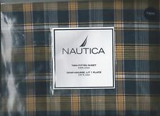 Nautica Surfside Plaid Twin Fitted Sheet Blue Yellow Red White New 1st Quality