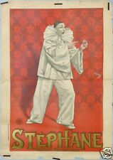 FARIA AFFICHE ANCIENNE STEPHANE PIERROT FANTAISISTE CLOWN MIME ci 1895 1900