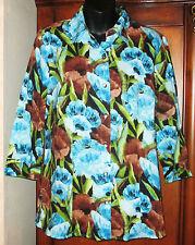 Chico's ADDITIONS Size 1 Multi-Color Blouse Womens Small 8/10 EUC 100% Cotton