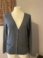 Talbots Dark Gray Black Label Cable Cotton Cardigan Sweater M Medium