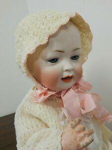 "Antique Hertel & Schwab #151 18"" Character Baby Bisque Head Doll w/Compo Body"