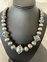 Stunning Turquoise Native Navajo Pearls Grad Sterling Silver Bead Necklace 1228