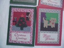 """20 Christmas cards & envelopes new 12 with book marks patchwork 6 5/8"""" x 4 3/4"""""""