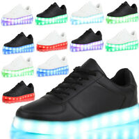 USB Unisex LED Light Lace Up Sportswear Sneaker Luminous Adult Shoes Casual