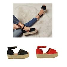 Womens Ladies Flat Wedge Sandals Espadrille PeepToe Stud Platform Summer Shoes