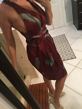 auth MARC JACOBS Maroon Fall Boho Floral PRINTED Low Back Halter Dress Runway 6