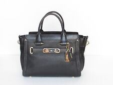 Coach Swagger 27 Black Pebble Leather Satchel Shoulder Handbag 34816