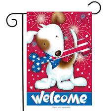 "Festive Fido Patriotic Garden Flag Dog Fireworks Bone 12.5"" x 18"""