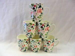 Set of 6 Hedgerow design aspen china mugs