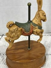 Vintage Painted Porcelain Willitts Musical Rabbit Carousel w Oak Base ~Rare