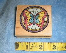 "RUBBER STAMPEDE ""Stained Glass Butterfly"" Rubber Wood mounted vintage 1990s RARE"