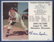 "Warren Spahn JSA Authenticated Autographed 8X10"" 300th Victory Plaque !!!"
