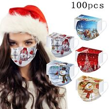 2020 Disposible Christmas Face Mask 100 PCS Adult's Mask 3 Layer