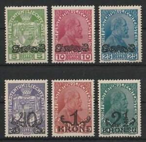 """Liechtenstein 1920 """"Aushilfsausg. mit Aufdruck"""" ANK.11-16 MV2113 postfrisch**"""