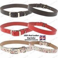 Adjustable 16mm New Plain Real Leather UK Handmade Dog Pet Collar Strap