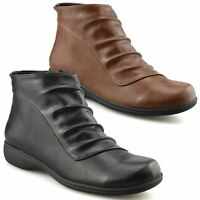 Ladies Womens Low Flat Heel Smart Casual Zip Up Ankle Boots Booties Shoes Size