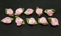 Pack of 10 - BABY PINK - 3cm Satin Ribbon Rose Rosebud Craft Flowers with Leaves