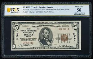1929 $5 EUREKA NEVADA NATIONAL PCGS58 AU CH#11784 SERIAL NUMBER 1