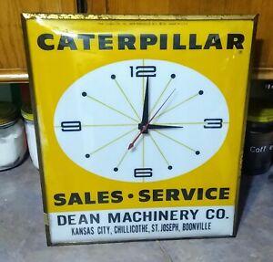 Very RARE 1963 CATERPILLAR Dealer Large LIGHTED PAM CLOCK....Missouri....