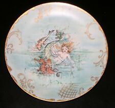 1890'S GERMAN, MERMAID & FRIENDS, HAND PAINTED PLATE, EBBA CARISON, VERY RARE!