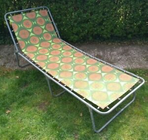 Vintage Retro 70s Sun Lounger Folding Chair Bed Retro VW Campervan Camping