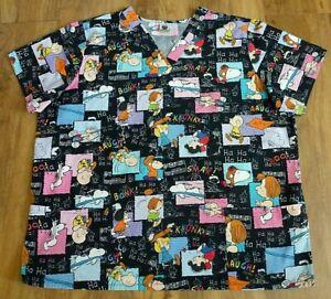 Peanuts Snoopy Multicolor Cotton Medical Nursing Scrub Top Women Size 2X