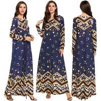 Ramadan Muslim Women Abaya Maxi Dress Kaftan Dubai Islamic Jilbab Cocktail Robe