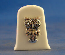 Birchcroft China Thimble  -- Cameo Antique Silver Owl with Free Gift Box