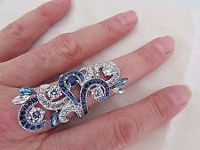 Large White & Blue Cubic Zirconia White Gold Plated Swirl Design Ring Sz 7 NWT