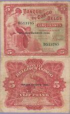 Belgian Congo 5 Francs Banknote 10.6.1942 Choice Fine Condition Cat#13-3785
