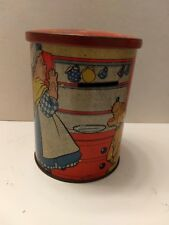 Vintage Mother Hubbard Tin Cylinder Bank - 5 inches high, great graphics
