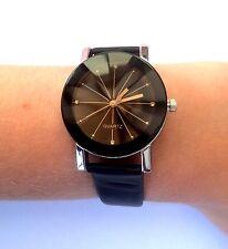 Women Girl Analog Quartz Ladies Wrist Watches Fashion Faux Leather Strap Black