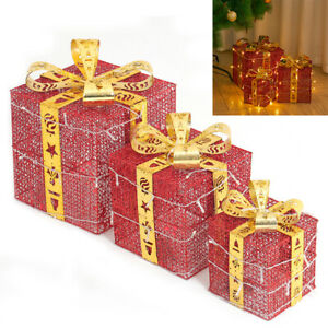 3PCS Pre-Lit Gift Box Christmas Parcel Boxes Battery Operated Led Lights Decor