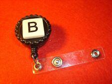 """ B "" MONOGRAM Initial Black & Tan Retractable Reel ID Badge Holder w/Clip"