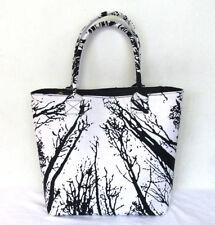 New Indian Black White Forest Tree Handbag Women Shoulder Shopping Hippie Bags
