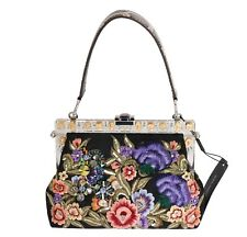 NUEVO DOLCE & Gabbana Bolso VANDA CRISTAL Brocado flores bordadas Bolso