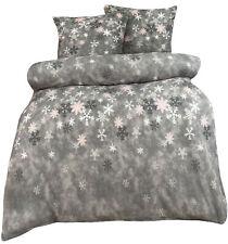 Fleece Bettwäsche Winter Schneeflocken grau rosa 135 155 200 220 240 flauschig
