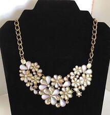 Floral Statement Necklace Flower Flair Chain Adjustable White Gold Tone Bib