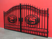 Greatbear 14' Wrought Iron Style Steel Gate Deer Elk Outdoor Scenic bidadoo -New