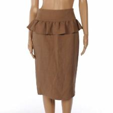 ARMAND BASI Skirt Mocha Brown Linen & Silk Ruffle Trim Size 38 / UK 10 FX 299